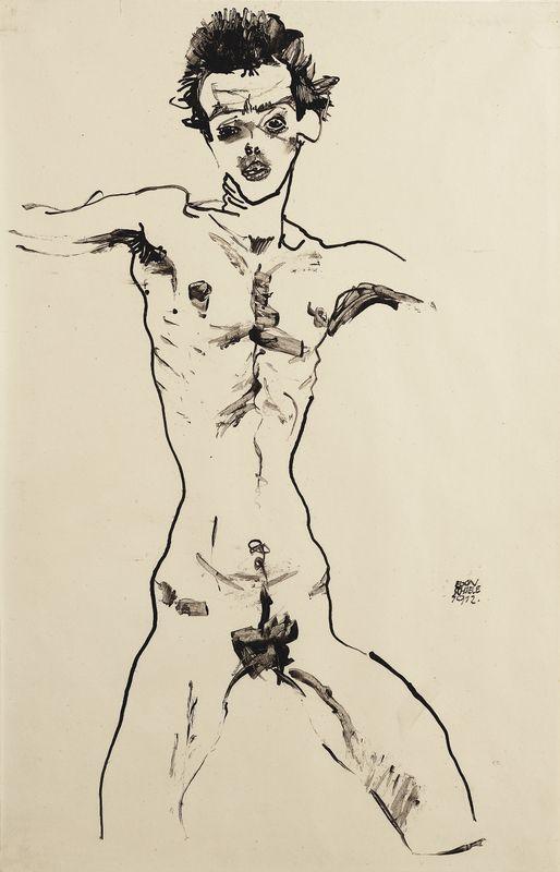 """Egon Schiele, Selbstbildnis als Akt (Studie zur """"Sema-Mappe""""), 1912, Tusche und Pinsel auf Papier, 46 × 29,1 cm, Leopold Museum, Wien, Inv. 1440."""
