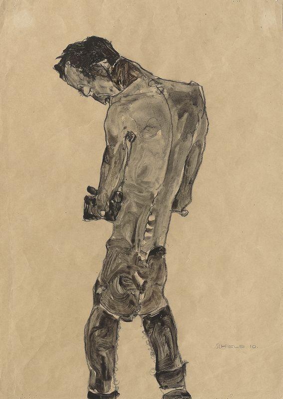 Egon Schiele, Stehender Männerakt, 1910, Gouache und schwarze Kreide auf Papier, 44,8 × 31,7 cm, Leopold Privatsammlung.
