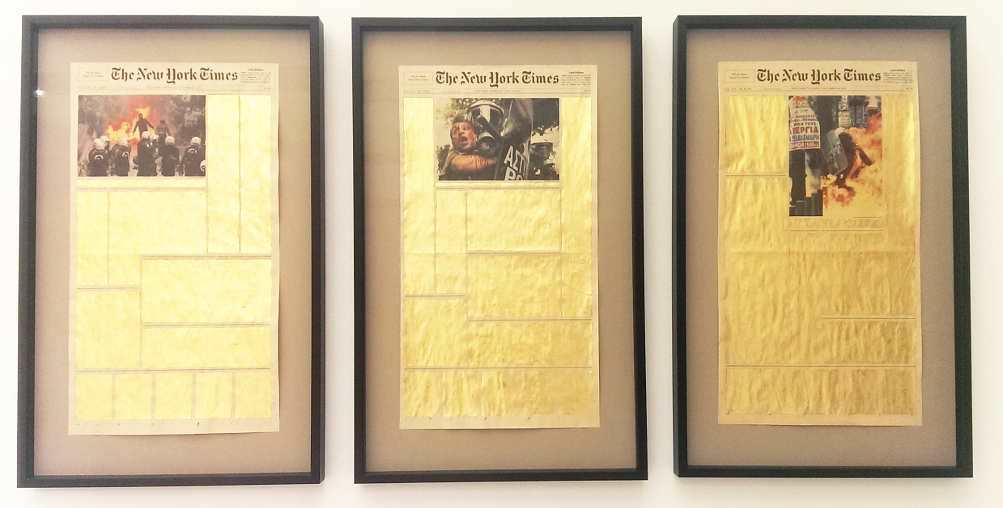 Panos Tsagaris, The Union, 2011, Triptychon, 56 x 30,5 cm je, Ausstellungsansicht MUSA 2016, Foto: Alexandra Matzner.