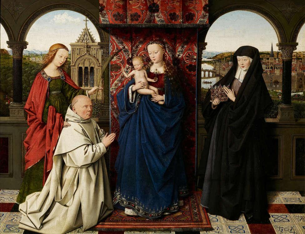 Jan van Eyck und Werkstätte, Madonna mit Kind, Hl. Barbara, Hl. Elisabeth von Ungarn, und Abt Jan de Vos, ca. 1442 (Frick Collection, New York).