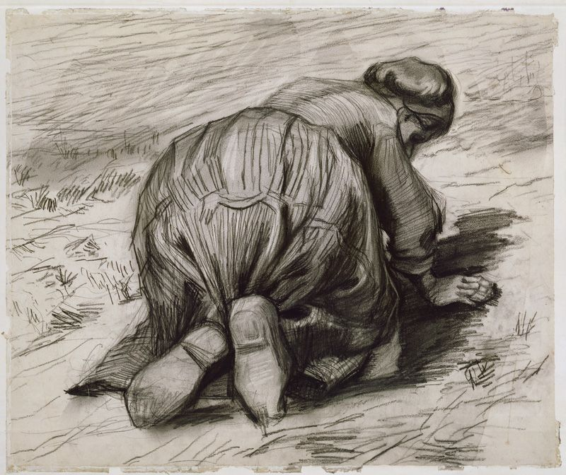 Vincent van Gogh, Bäuerin, knieend, 1885, Schwarze Kreide auf Papier © The National Museum of Art, Architecture and Design, Oslo.