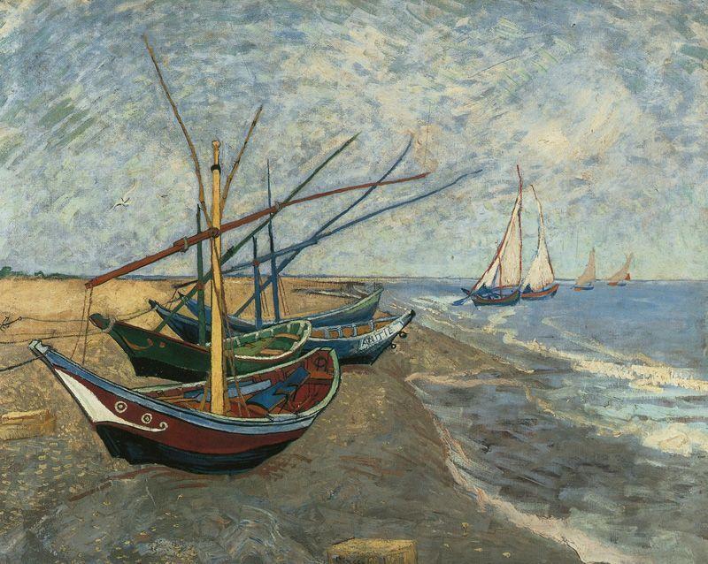 Vincent van Gogh, Fischerboote am Strand von Les-Saintes-Maries-de-la-Mer, 1888, Öl auf Leinwand © Van Gogh Museum, Amsterdam (Vincent van Gogh Foundation).