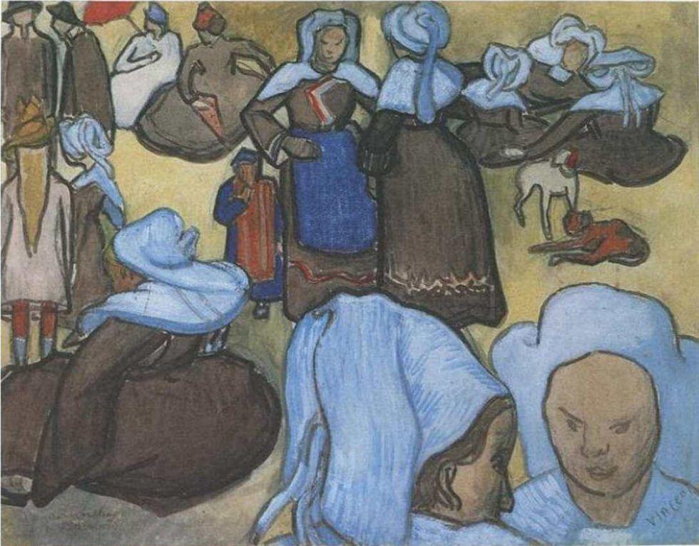 Vincent van Gogh, Bretonische Frauen auf einer Wiese (nach Bernard), Dezember 1888, Wasserfarbe und Graphit auf Papier (Civica Galleria d'Arte Moderna, Raccolta Grassi, Mailand)