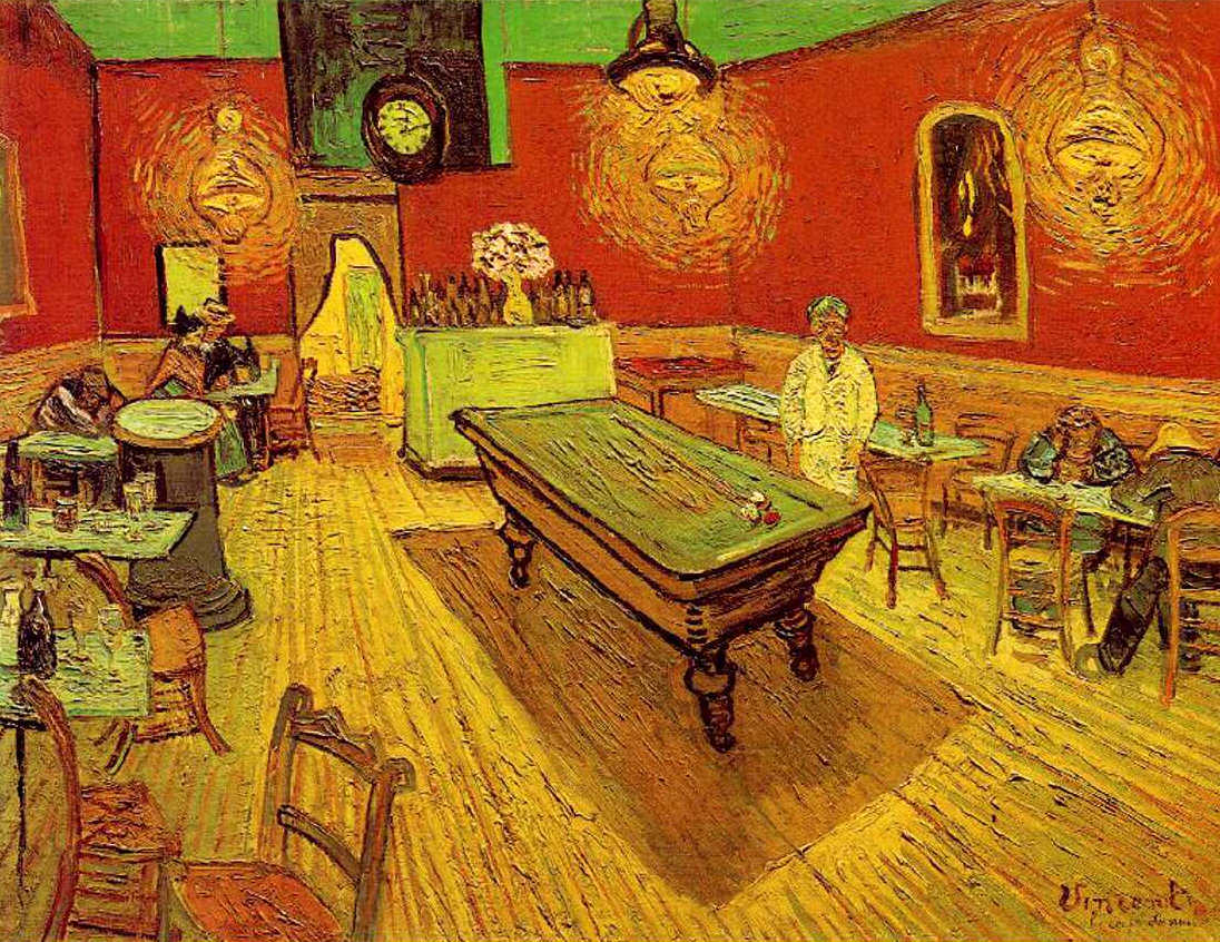 Vincent van Gogh, Le Café du Midi [Das Nachtcafé], 5.-8. September 1888, Grafit, Aquarell und Gouache, 44,4 x 63 cm (Privatsammlung)