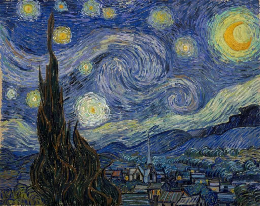 Vincent van Gogh, Sternennacht, 17./18. Juni 1889, Öl auf Leinwand, 73,7 x 92,1 cm (Museum of Modern Art, New York, 1941, erworben über den Nachlass von Lillie S. Bliss)