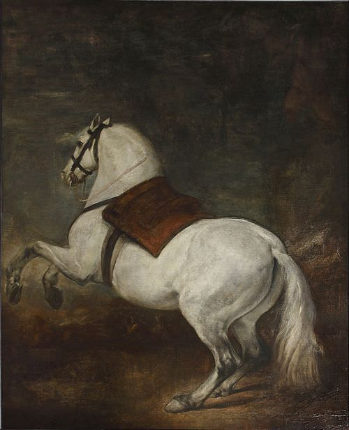 Diego Velázquez, Weißes Pferd, um 1634/35, Öl auf Leinwand, 310 x 245 cm (Palais Royal, Madrid)