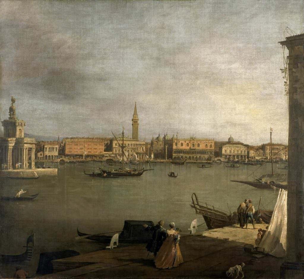 Giovanni Antonio Canal, gen. Canaletto (1697–1768), Das Markusbecken, Blick nach Norden, um 1730, Öl auf Leinwand, 141,3 x 154 cm (Amgueddfa Cymru – National Museum of Wales, Cardiff Inv.-Nr. NMW A 76)