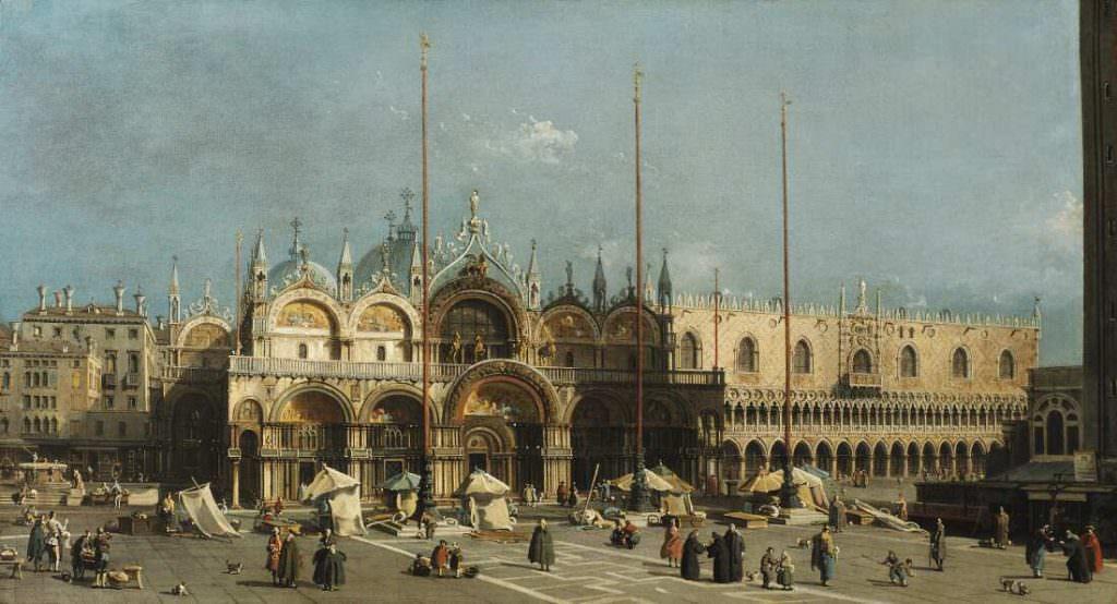 Giovanni Antonio Canal, gen. Canaletto (1697–1768), Markusplatz mit Dogenpalast, 1740–1750, Öl auf Leinwand, 58,8 x 103 cm (Arp Museum Bahnhof Rolandseck / Sammlung Rau für UNICEF, Remagen Inv.-Nr. GR 1.1017)