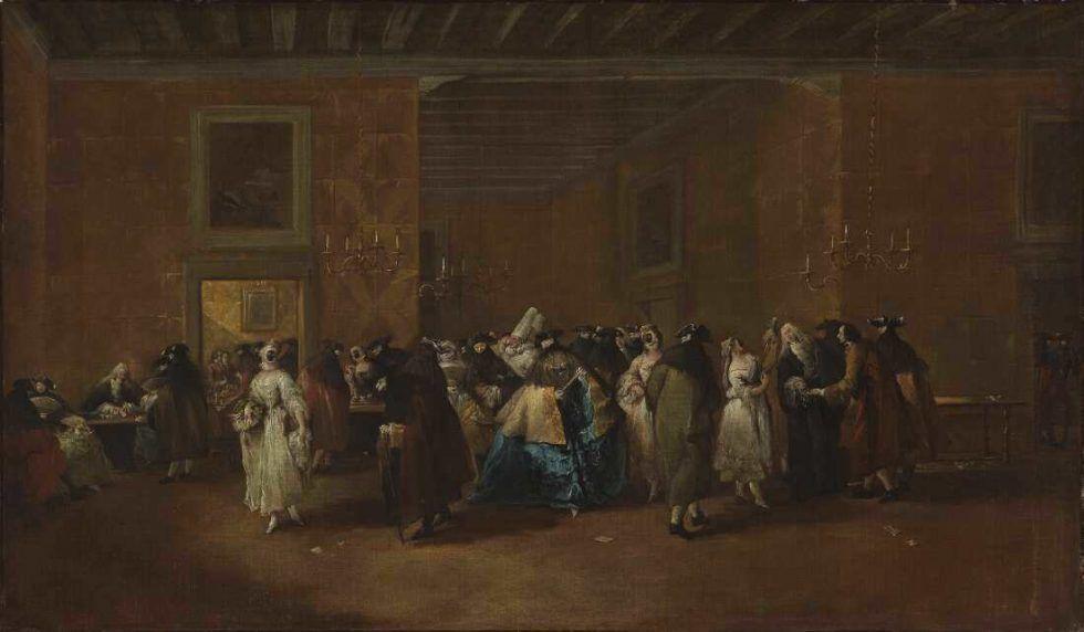 Giovanni Antonio Guardi (1699–1760), Die Sala Grande des Ridotto, Palazzo Dandolo, San Moisè, 1755–1760 Öl auf Leinwand, 50 x 85 cm (The Fitzwilliam Museum, Cambridge Inv.-Nr. PD.1-1980)