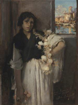 John Singer Sargent (1856–1925), Venezianische Zwiebelverkäuferin (Venetian Onion Seller), um 1880–1882, Öl auf Leinwand, 95 x 70 cm (Museo Thyssen-Bornemisza, Madrid Inv.-Nr. 731 (1979.56))
