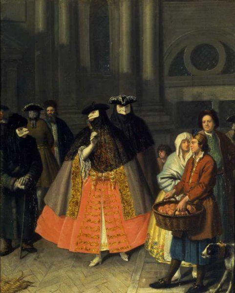Pietro Longhi (1701–1785), Unterhaltung zwischen Maskierten (Colloquio tra baute), 1750–1760, Öl auf Leinwand, 62 x 51 cm (Fondazione Musei Civici di Venezia, Museo del Settecento Veneziano, Ca' Rezzonico, Venedig Inv.-Nr. Cl. I, n. 1313)