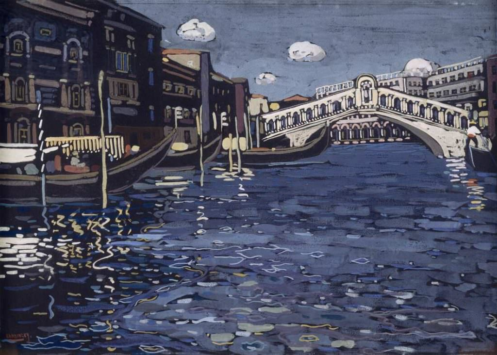 Wassily Kandinsky (1866–1944), Erinnerung an Venedig 4 (Rialtobrücke), 1904, Tempera auf Karton, 40,5 x 56 cm (Centre Pompidou, Musée national d'art moderne / Centre de création industrielle, Paris Inv.-Nr. AM 81-65-79)