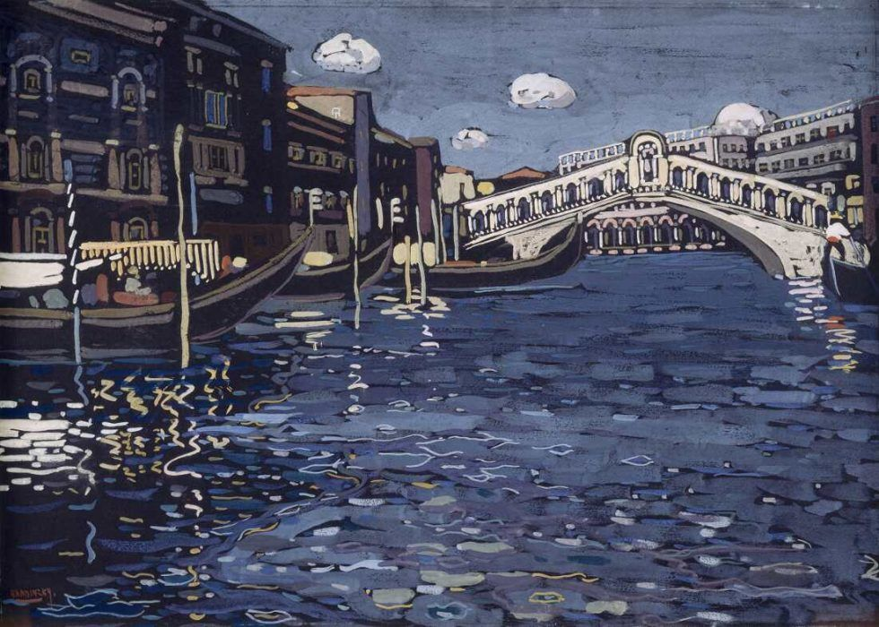 Wassily Kandinsky (1866–1944), Erinnerung an Venedig 4 (Rialtobrücke), 1904, Tempera auf Karton, 40,5 x 56 cm (Centre Pompidou, Musée national d'art moderne / Centre de création industrielle, Paris Inv.-Nr. AM 81-65-79)