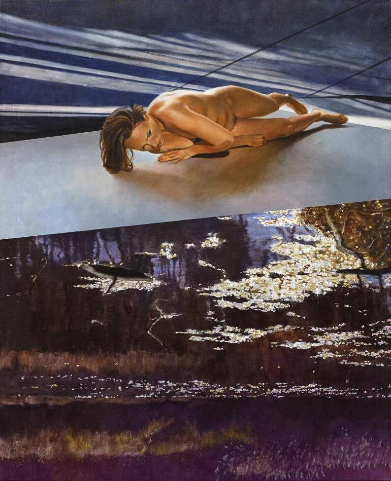 Martin Schnur, Gekippte Situation 2016, Öl auf Leinwand, 150 x 123 cm © Courtesy bechter kastowsky galerie, Wien