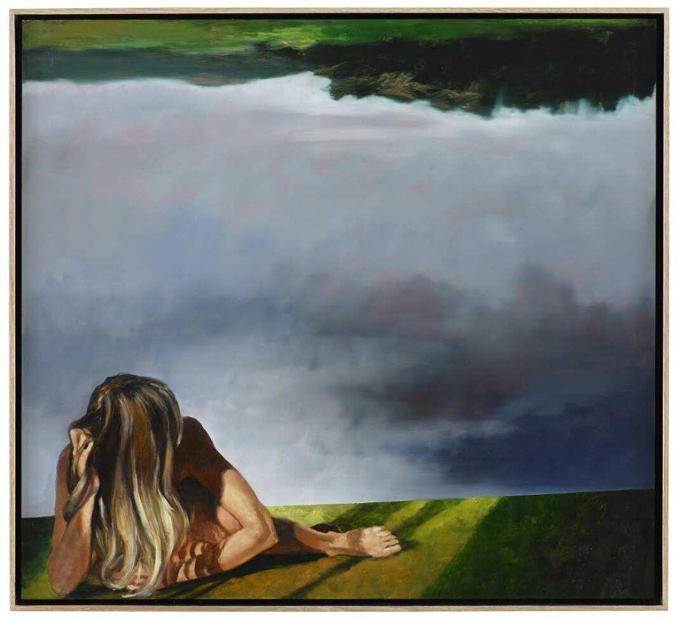 Martin Schnur, Gekippte Landschaft 2016, Öl auf Kupfer, 50 x 55cm © Courtesy bechter kastowsky, Wien