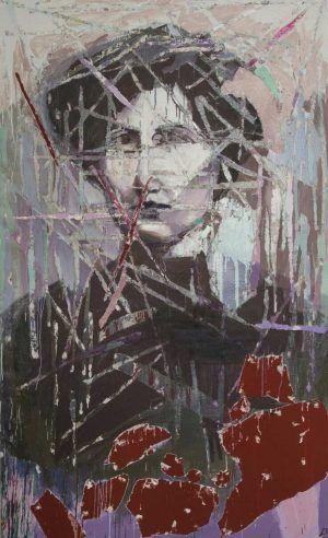 Eşref Yıldırım, Zabel Yesayan, 2014, Mixed media on canvas, 210 x 128 cm © Courtesy of the artist and Zilberman Gallery