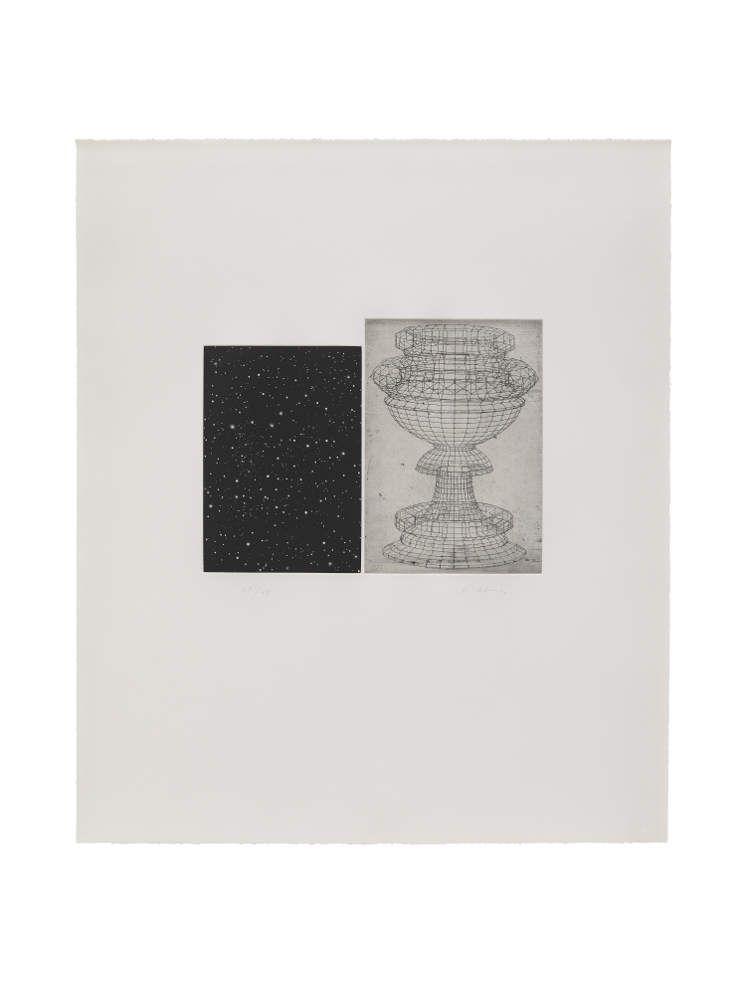 Vija Celmins, Constellation Ucello, 1983, Vierfarbige Aquatinta und Ätzradierung, Motiv: 22,2 x 15,6 cm (linke Platte) und 23,3 x 17,6 cm (rechte Platte) Blatt: 69,2 x 58,7 cm Gedruckt von Kenneth Farley und Doris Simmelink Verlegt von Verlegt von Gemini G.E.L., Los Angeles.