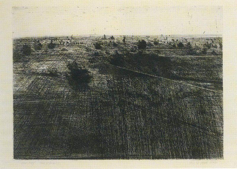 Vija Celmins, View of Quarry, 1962 Ätzradierung Motiv: 45,2 x 61,6 cm Blatt: 49,5 x 69,2 cm Gedruckt von der Künstlerin.