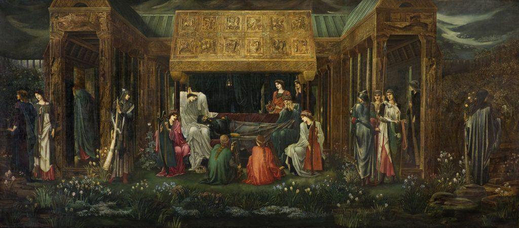Edward Burne-Jones, The Sleep of King Arthur in Avalon, 1881-1898, Öl auf Leinwand, 279,4 x 650,2 cm (Collection Museo de Arte de Ponce. The Luis A. Ferré Foundation, Inc., Ponce, Puerto Rico), Foto: John Betancourt.