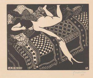 Félix Vallotton, Die Trägheit, 1896, Holzschnitt, 17,7 x 22,2 cm (Privatsammlung, Villa Flora, Winterthur)