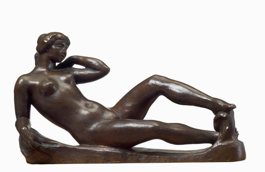 Aristide Maillol, Liegende Frau (Hommage an Cézanne), 1908, Bronze, 18 x 31 x 18 cm (Privatsammlung, Villa Flora, Winterthur)