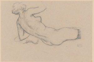 Aristide Maillol, Liegender Akt, auf den Arm gestützt, von hinten gesehen, o.J., Kohle und Blaustift auf Papier, 21,7 x 32,5 cm (Hahnloser/Jäggli Stiftung, Winterthur)