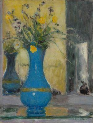 Édouard Vuillard, Die blaue Vase, um 1932, Öl auf Holz, 35 x 27 cm (Privatsammlung, Villa Flora, Winterthur)