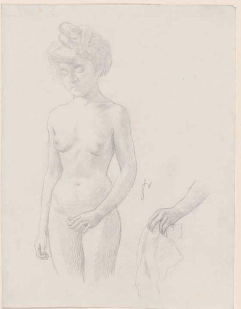 Félix Vallotton, Akt, von vorn und Studie einer Hand, o.J., Bleistift auf Papier, 24,2 x 18,7 cm (Hahnloser/Jaeggli Stiftung, Winterthur, Schenkung Geschwister Jäggli, 2011)
