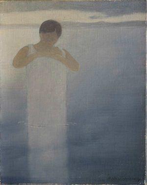 Félix Vallotton, Badende im Hemd, um 1883, Öl auf Leinwand, 27 x 21,3 cm (Privatsammlung, Villa Flora, Winterthur)