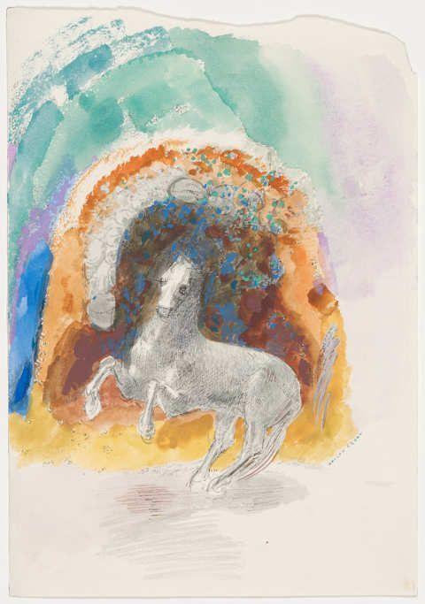 Odilon Redon, Sich aufbäumendes Pferd, um 1910–1912, Tusche und Aquarell auf Papier, 25,5 x 17,8 cm (Hahnloser/Jaeggli Stiftung, Winterthur © Hahnloser/Jaeggli Stiftung, Winterthur)