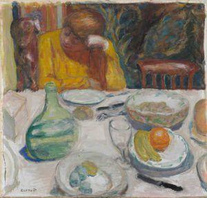 Pierre Bonnard, Provençalische Karaffe (Marthe Bonnard und ihr Hund Ubu), 1915, Öl auf Leinwand, 63 x 65 cm (Hahnloser/Jaeggli Stiftung, Winterthur, Schenkung Elisabeth Lasserre-Jäggli, 1985)