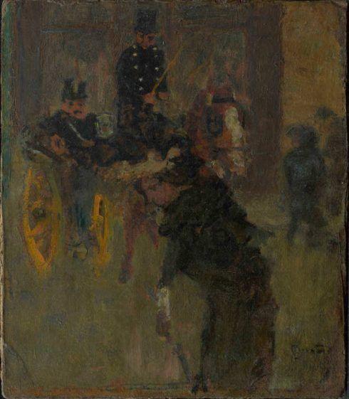 Pierre Bonnard, Die Kutsche, 1894, Öl auf Karton, 25 x 22 cm (Hahnloser/Jaeggli Stiftung, Winterthur, Schenkung Elisabeth Lasserre-Jäggli, 1985)
