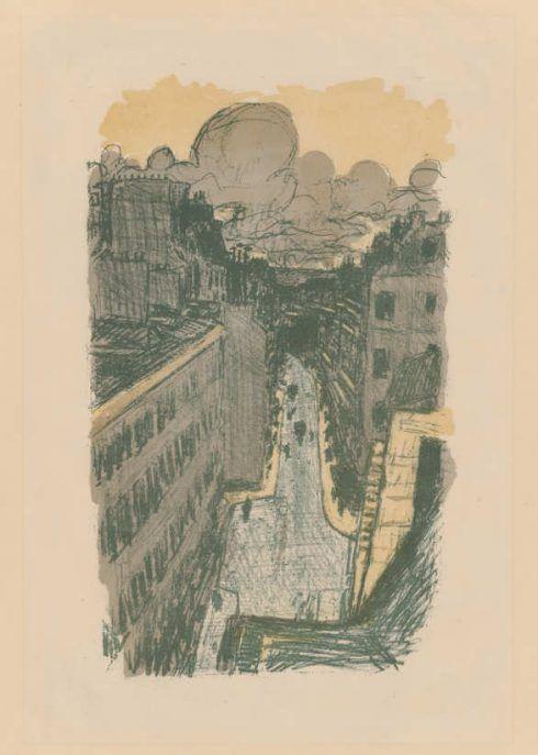 Pierre Bonnard, Quelques aspects de la vie de Paris (Pariser Szenen): Straßenansicht von oben, 1899, Farblithografie, 37 x 22 cm (Hahnloser/Jaeggli Stiftung, Winterthur © Hahnloser/Jaeggli Stiftung, Winterthur)
