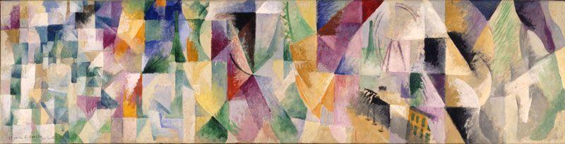 Robert Delaunay, Les Fenêtres sur la ville (1er partie, 1ers contrastes simultanés), 1912, Öl auf Leinwand, 53 x 207 cm (Museum Folkwang, Essen)