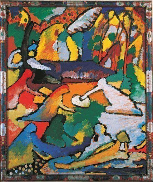 Wassily Kandinsky, Fragment zu Komposition II, 1910, Ö auf Karton, 57 x 47,5 cm, Merzbacher Kunststiftung.