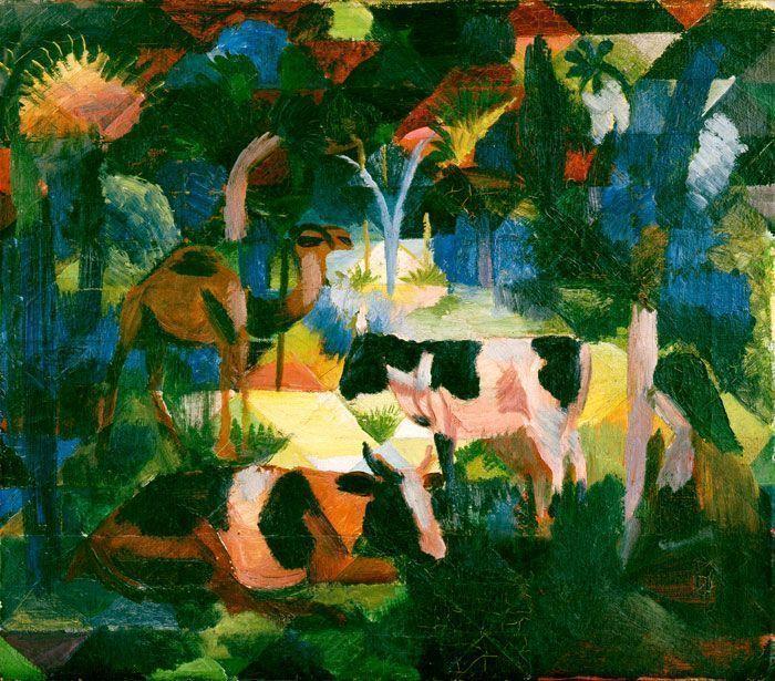 August Macke, Landschaft mit Kühen und Kamel, 1914, Öl auf Leinwand, 47 x 54 cm, Kunsthaus Zürich.