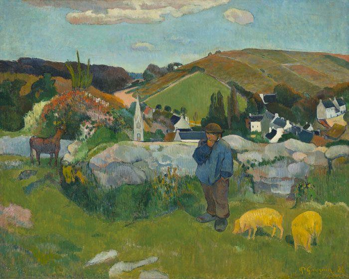 Paul Gauguin, Le Gardien de porcs [Der Schweinehirte], 1888, Öl auf Leinwand, 73,03 x 93,03 cm (Los Angeles County Museum of Art, Geschenk von Lucille Ellis Simon und ihrer Familie zu Ehren des 25jährigen Geburtstags des Museums)