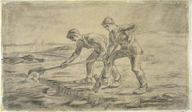 Vincent van Gogh, Die Grabenden (nach Jean-François Millet), 1880, Zeichnung, 35 x 55 cm, Collections Ville de Mons, MBA.1019 © Collections Ville de Mons / Atelier de l'Imagier.