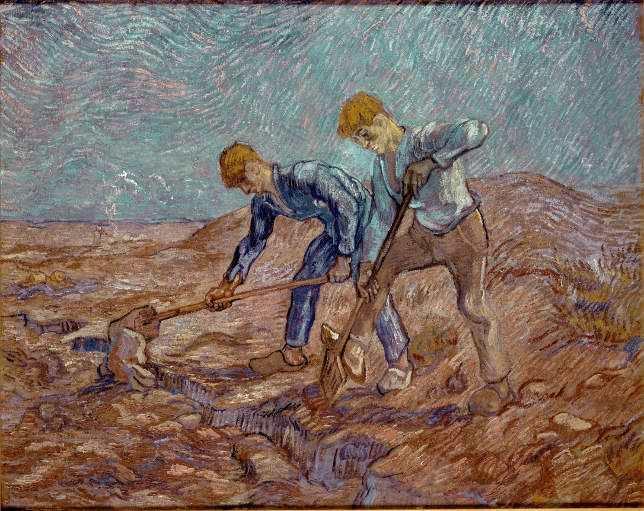 Vincent van Gogh, Die Grabenden (nach Jean-François Millet), 1889, Öl auf Leinwand, 72 x 93 cm, Collectie Stedelijk Museum Amsterdam, inv. A 411 © Collectie Stedelijk Museum Amsterdam.