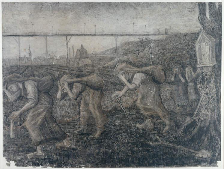 Vincent van Gogh, Die Lastenträger, 1881, Zeichnung, 47,5 x 63 cm, Coll. Kröller-Müller Museum, Otterlo, inv. KM 122.865 recto © Stichting Kröller-Müller Museum.