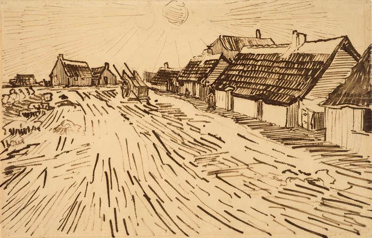 Vincent van Gogh, Häuser in der Sonne in Les-Saintes-Marie-de-la-Mer, 1888, Zeichnung, 30,5 x 47,2 cm, Van Gogh Museum, Amsterdam (Vincent van Gogh Foundation), inv. d0426V1962 © Van Gogh Museum, Amsterdam (Vincent van Gogh Foundation).