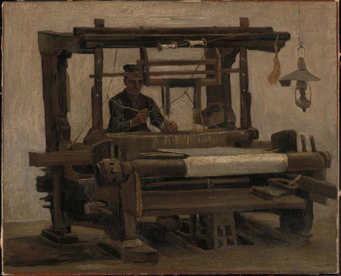 Vincent van Gogh, Webstuhl mit Weber, 1884, Öl auf Leinwand, 68,3 x 84,2 cm, Coll. Kröller-Müller Museum, Otterlo, inv. KM 107.755 © Stichting Kröller-Müller Museum.