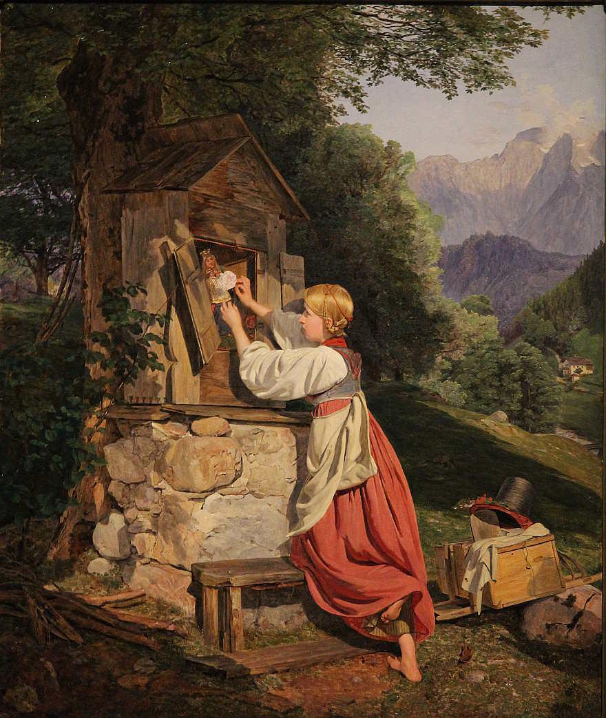 Ferdinand Georg Waldmüller Ein Mädchen schmückt die Mutter Gottes mit einer Rose, 1836, Öl auf Holz, 55,5 × 44,5 cm, Bez. u. M. (unter der Bank): Waldmüller 1836 (Belvedere, Wien, Inv.-Nr. 5603)