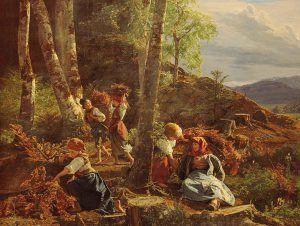 Ferdinand Georg Waldmüller, Reisigsammler im Wienerwald, 1855, Öl auf Holz, 60 × 76,5 cm, Bez. u. M.: Waldmüller 1855 (Belvedere, Wien, Inv.-Nr. 2106)