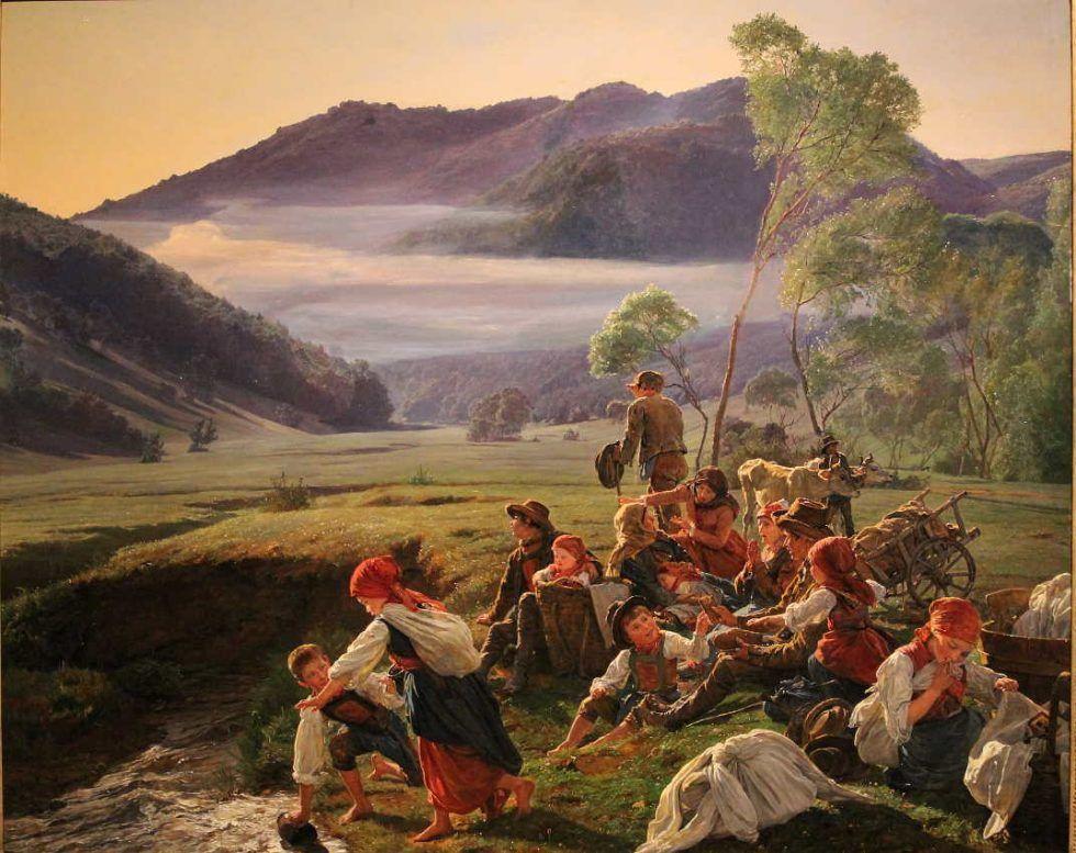 Ferdinand Georg Waldmüller, Ruhe flüchtiger Landleute, 1859, Öl auf Holz, 61 × 75,5 cm, Bez. u. r.: Waldmüller 1859 (Privatbesitz)