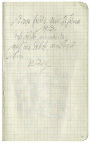 Handschriftliche Eintragung von Wally Neuzil im dritten Skizzenbuch von Egon Schiele, 08.01.1913 © Albertina, Wien, Egon-Schiele-Archiv