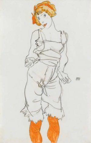 Egon Schiele, Frau in Unterwäsche und Strümpfen (Wally Neuzil), 1913 © Vermittlung Christie's