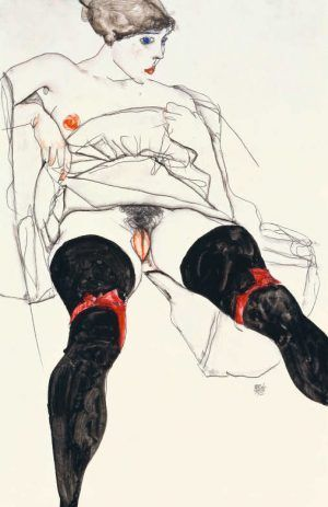 Egon Schiele, Frau in schwarzen Strümpfen, 1913 © Privatsammlung, Courtesy Richard Nagy Ltd., London, Foto: Privatsammlung, Courtesy Richard Nagy Ltd., London