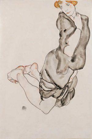 Egon Schiele, Kniende mit grauem Umhang (Wally Neuzil), 1912 © Leopold Museum, Wien.