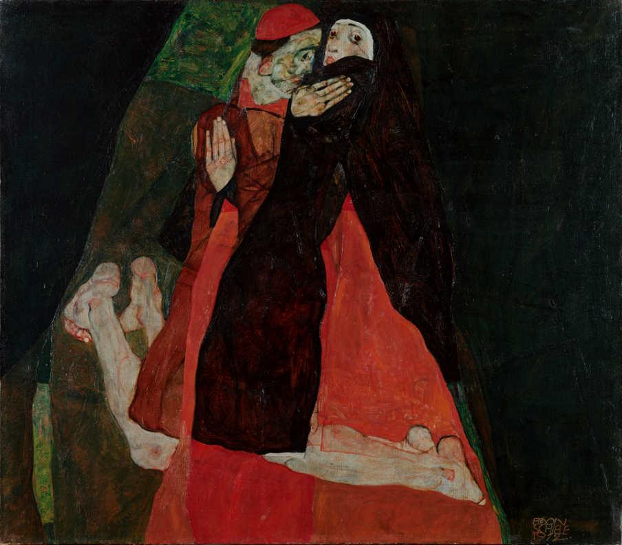 """Egon Schiele, Kardinal und Nonne (""""Liebkosung""""), 1912 © Leopold Museum, Wien."""